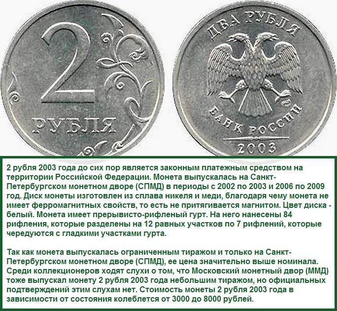 2х-рублевые стальные монеты 2003 года выпуска для продажи в сбербанк
