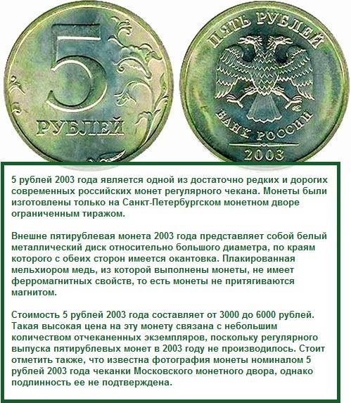 5 рублевые Монеты 2003 года