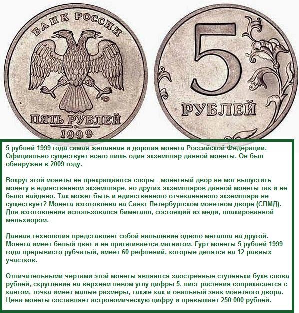 монета в 5 рублей 1999 года ЦБ РФ