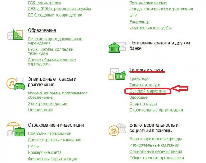 Вкладка сетевого маркетинга в графе товары и услуги