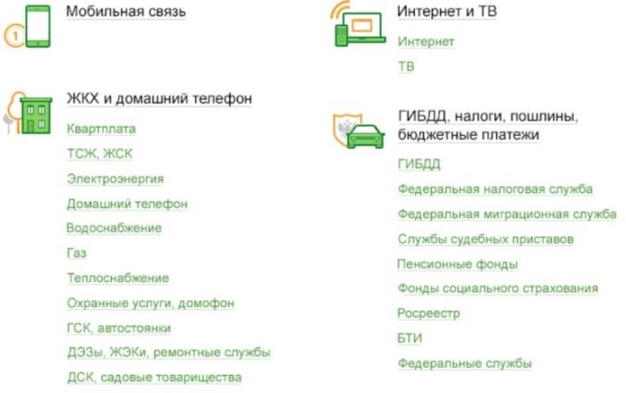 Выбор раздела Интернет и ТВ